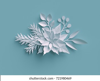 3d render, Christmas background, white paper flowers, poinsettia decor, festive floral elements, holiday decoration, greeting card