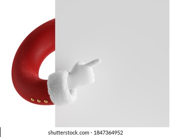 3d render, Christmas banner mockup, greeting card template, wish list. Santa Claus hides behind the wall, hand in red sleeve and white glove holds blank page, empty white paper. Finger points right