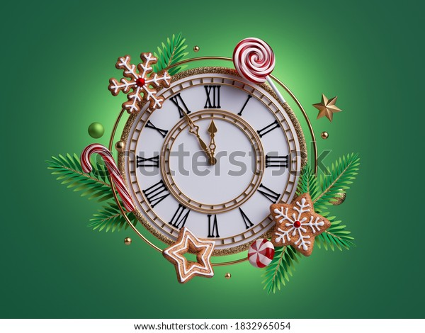 3d render, Christmas clock decorated with gingerbread cookies and caramel candies, paper cut spruce twigs. Clip art isolated on green background