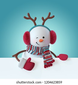 3d render, christmas snowman character, smiling, blinking, wearing furry headphones, reindeer antler, blank banner, greeting card template, space for text, winter clip art, funny toy, illustration