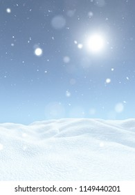 3D render of a Christmas snowy landscape