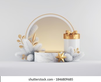 3d render, Christmas white gold background with empty marble podium, round frame, gift box, spruce twig and festive ornaments. Commercial seasonal showcase mockup for product presentation.