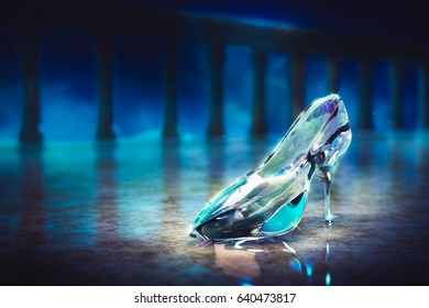 3D Render of Cinderella's glass slipper on the castle floor