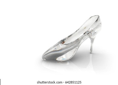 3D Render of Cinderella's glass slipper on a white background