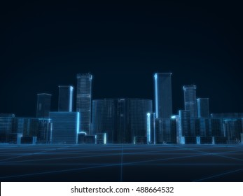 3D render of city x-ray blue transparent on dark background.
