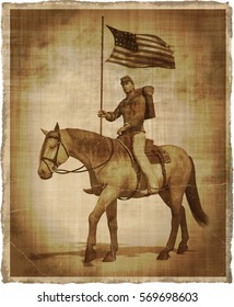 A 3d render of a Civil War Union soldier on horseback, digitally manipulated to create the appearance of an old photo or parchment.