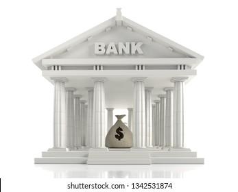 3D render of classic Bank columnar building with money bag inside on white