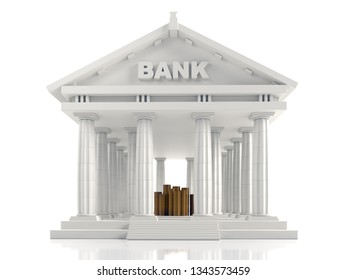 3D render of classic Bank columnar building with piles of golden coins inside on white
