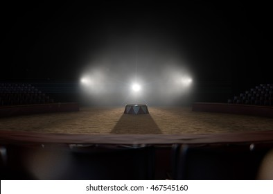 A 3D render of a classic circus arena and an empty ringmasters podium backlit by dramatic spot lights on a dark moody background