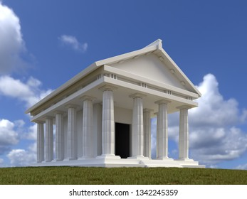 3D render of classic Greek stone temple agains the sky