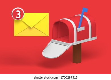 3d render classic mailbox with letter icon for post. Isometric concept personal delivery service for communication. Low poly. illustration.