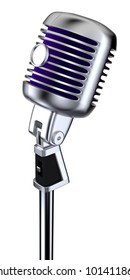 3D render of classic microphone on white background with clipping path