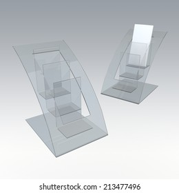 3D render clear acrylic brochure holder in isolated background with work paths, clipping paths included