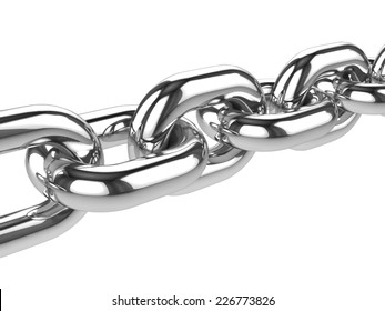 3d render of a close up of a stainless steel chain