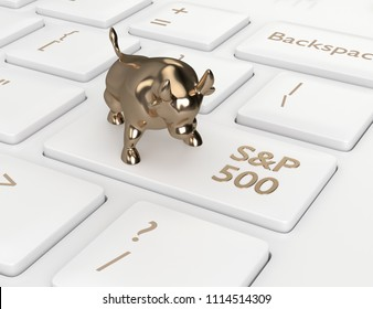 3d render closeup of computer keyboard with bull and S&P 500  index button. Stock market indexes concept.