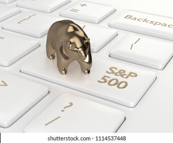 3d render closeup of computer keyboard with bear and S&P 500  index button. Stock market indexes concept.
