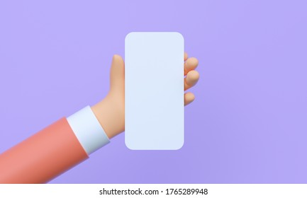 3d render closeup hand holding smart phone with empty screen