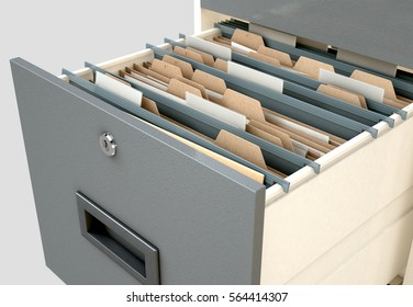 A 3D render closeup view of an open filing cabinet drawer revealing generic documents inside