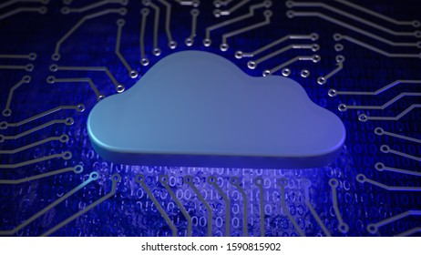 3D render: Cloud Computing Concept. A cloud shape in a circuit board design mimicking a microprocessor. 0 and 1 on the basis.