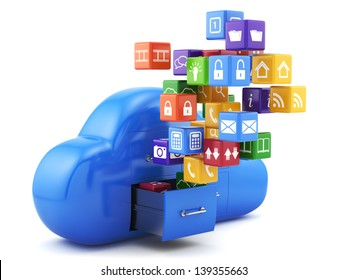 3d render of cloud storage concept. Isolated on white background