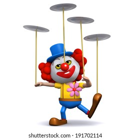 3d render of a clown spinning many plates