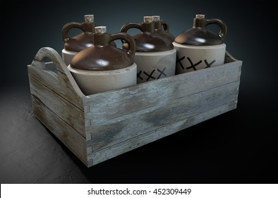 A 3D render of a collection of five vintage moonshine jugs in a wooden carry crate on an isolated dark studio background