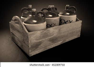 A 3D render of a collection of five vintage moonshine jugs in a wooden carry crate on an isolated sepia studio background