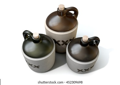 A 3D render of a collection of three vintage moonshine jugs on an isolated white studio background
