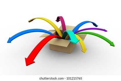 3d render of colorful arrows jumping outside from box.