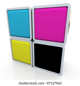 3d render of colorful box of cymk (cyan magenta yellow black) colors