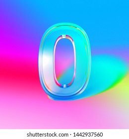 3D render colorful digit null