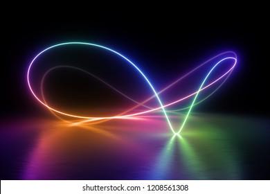 3d render, colorful neon light spectrum, loop, ultraviolet, quantum energy, pink blue violet glowing line, string, abstract background