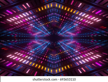 3d render, colorful neon lights, bright colorful tunnel, abstract geometric background