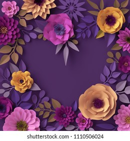 3d render, colorful paper flowers, heart shape greeting card, romantic wallpaper, rose, dahlia, peony, leaves, purple yellow pink, botanical elements on violet background, decorative papercraft