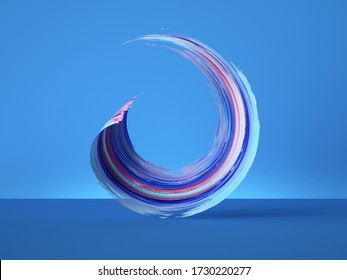 3d render, colorful round gouache smear, curl object isolated on blue background, brush stroke stripe clip art, modern minimal creative design