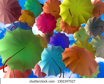 3D render of colorful umbrellas rising high into the sky
