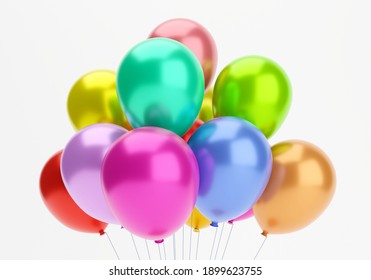 3d render. Colourful balloons on white background.