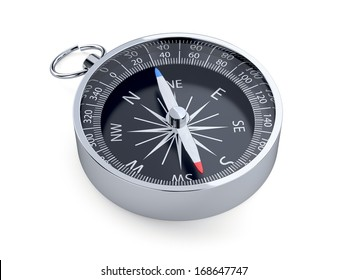 3d render of compass isolated on white background