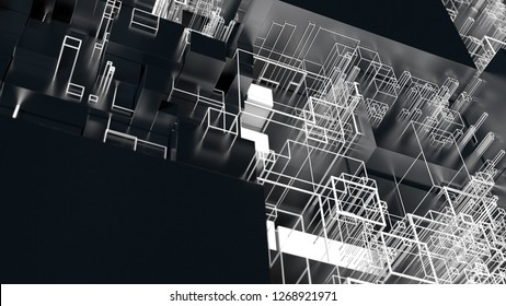 3d render complex abstract background. Technology concept. Detailed cube for technology, artificial intelligence or blockchain theme.