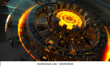 3d render of complex computing structure with glowing element in the center of it. Artificial intelligence center concept.  CPU structure.