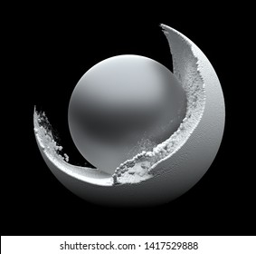3d render of composition with big mate metal ball and white small balls particles around on black background
