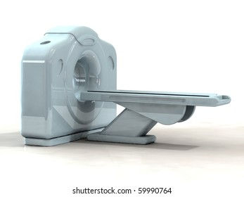 3d render of a computed axial tomography ct or cat scanner on white background