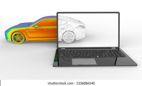 3D render - computer aided design car design concept