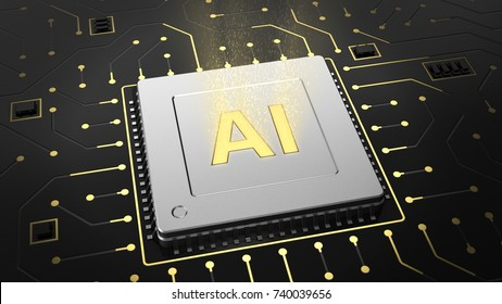 3d render of computer chip over circuit background with AI sign. AI(Artificial Intelligence) concept, 3D illustration, abstract image visual