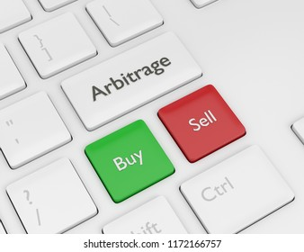 3d render of computer keyboard with ARBITRAGE button. Stock market issue concept