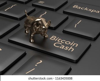 3d render of computer keyboard with BITCOIN CASH button and bull. Cryptocurrencies concept.