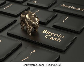 3d render of computer keyboard with BITCOIN CASH button and bear. Cryptocurrencies concept.