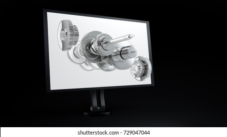 3d render of a computer monitor with CAD design, of gears. Exploding geometry from screen computer assisted desigh, future technology