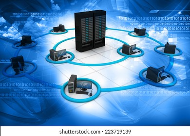 3d render of Computer Network and internet communication concept