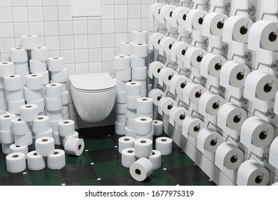 3d render: Concept Hoarding of Toilet paper because of corona crisis or other events.